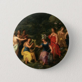 Minerva and the muses 6 cm round badge