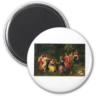 Minerva and the muses 6 cm round magnet