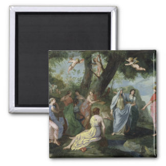 Minerva with the Muses Square Magnet