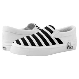 Mini Black Stripe Women's Zipz Printed Shoes