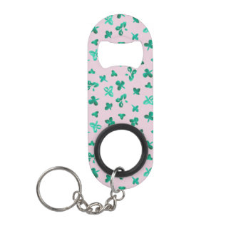 Mini bottle opener with clover leaves on pink