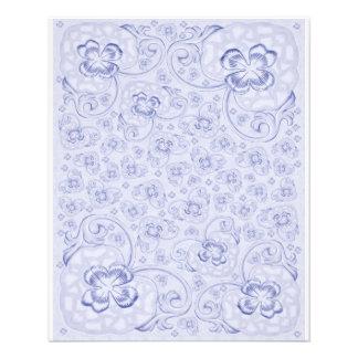 Mini Doublesided paper Pastel blue floral 11.5 Cm X 14 Cm Flyer
