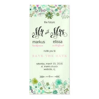 Mini Flowers Save the Date Wedding Invite Magnetic Invitations