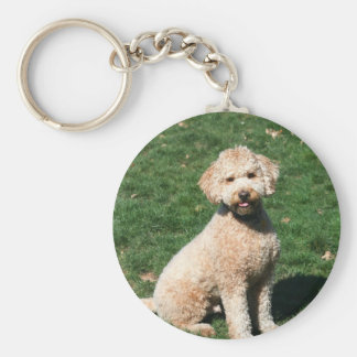 Mini Goldendoodle puppy keychain