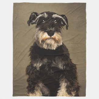 Mini Schnauzer Pet Portrait Fleece Blanket
