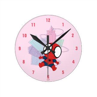 Mini Spider-Man & City Graphic Round Clock
