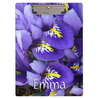 Miniature Blue Irises Spring Floral Clipboard