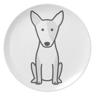 Miniature Bull Terrier Dog Cartoon Plate