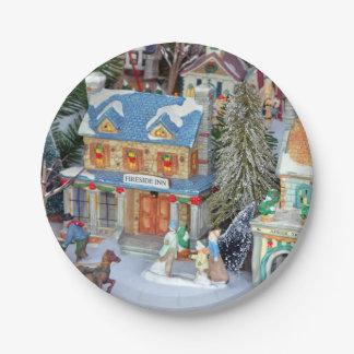 Miniature christmas village paper plate