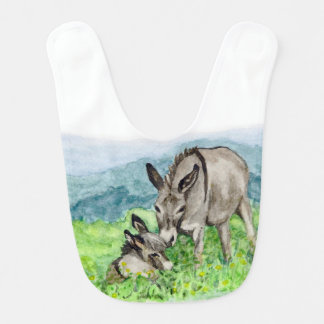 Miniature Donkey Mom and Baby Watercolor Art Bib