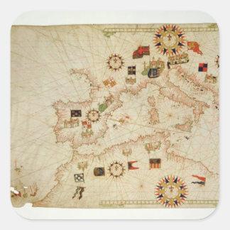 Miniature Nautical Map of the Central Mediterranea Square Sticker