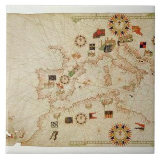 Miniature Nautical Map of the Central Mediterranea Tile
