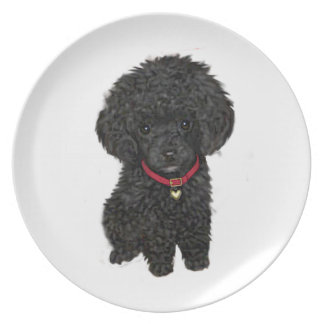 Miniature or Toy Poodle - Black 1 Plate