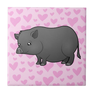 Miniature Pig Love Small Square Tile