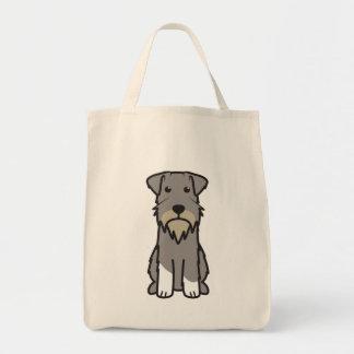 Miniature Schnauzer Dog Cartoon Grocery Tote Bag