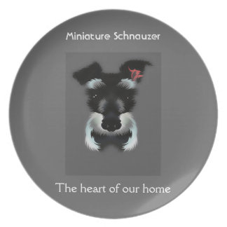 Miniature schnauzer The heart of our home Plate