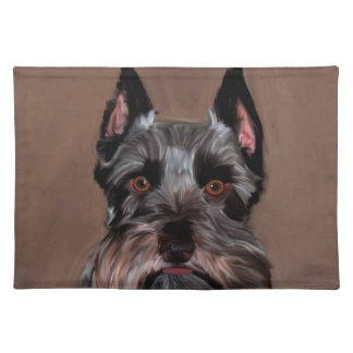 Miniature Schnauzer Water Color Art Painting Placemat