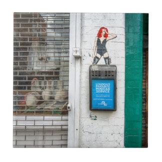 Minicab graffiti girl tile