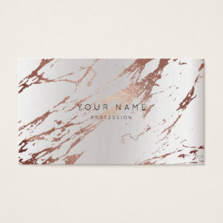 Minimal Abstract Rose Marble Appointment Silver Business Card