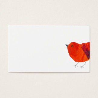 Minimal & Artistic Animal Lovely Red Bird Collage Business Card