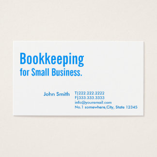 Minimal Blue Bookkeeping Business Card