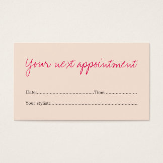 Minimal Clean Pastel Pink Beauty Appointment Card
