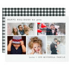 Minimal Holiday Photo Collage | Black Gingham Card