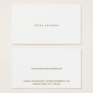 minimal of the minimalist style white business card