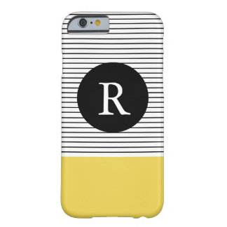 Minimal Stripes - Chartreuse Monogram Barely There iPhone 6 Case