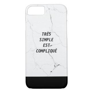 Minimal TRÈS SIMPLE EST COMPLIQUÉ Marble Text iPhone 8/7 Case