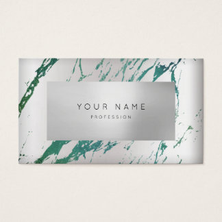 Minimal Tropical Green Marble Appointment Silver Business Card