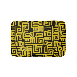 Minimal Yellow Black African Tribal Pattern Bath Mats