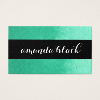 Minimalist Black and Aqua Business Card