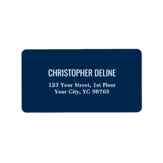 Minimalist Classic Elegant Navy Blue White Label Address Label