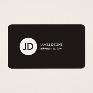 Minimalist Dark Grey White Monogram Attorney Business Card