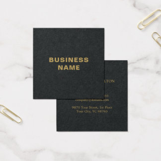 Minimalist Elegant Black Faux Gold Consultant Square Business Card