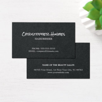 Minimalist Elegant Black White Hairdresser Business Card