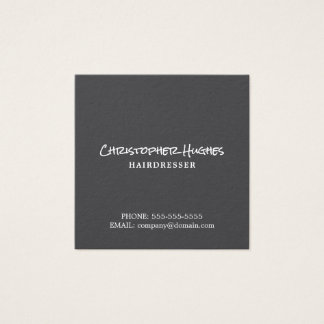 Minimalist Elegant Plain Grey & White Hairdresser Square Business Card