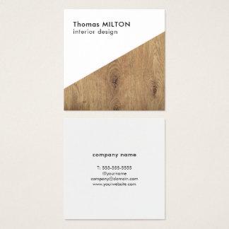 Minimalist Elegant White Wooden Interior Design Square Business Card