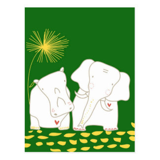 Minimalist Elephant and Hippo - Yellow and Green Post Card