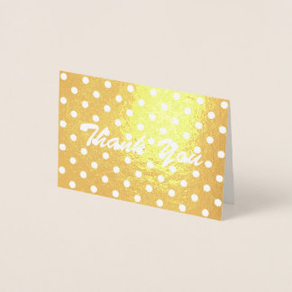 minimalist girly polka dot Thank You Foil Card