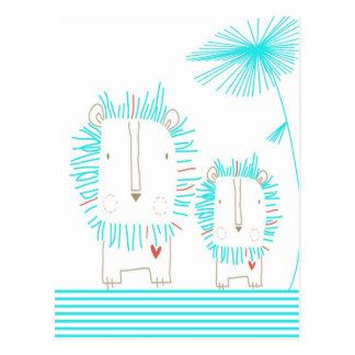 Minimalist Lion - Aqua and White Postcard