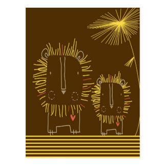 Minimalist Lion - Brown Background Post Cards