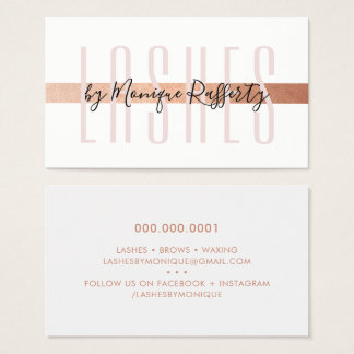 MINIMALIST LUXE stylish faux rose gold foil pink Business Card