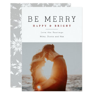 Minimalist Merry and Bright Holiday Photo cards