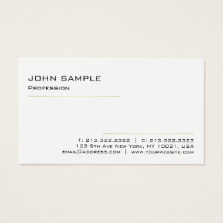 Minimalist Modern Elegant Professional White Gold Business Card