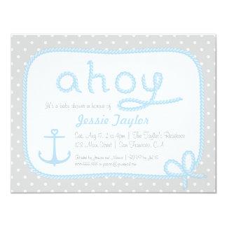 Minimalist Nautical Theme Baby Shower Invitations