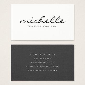 Minimalist Plain White with Cursive Text Business Card