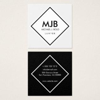 Minimalist Professional Elegant  White and black Square Business Card