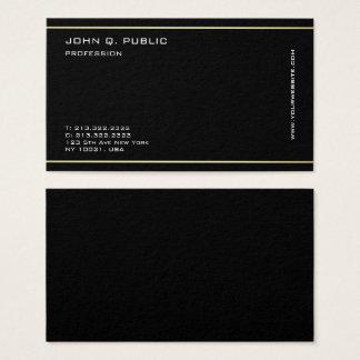 Minimalist Professional Gold Color Stripes Black Business Card